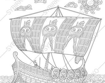Ancient Greek Galley. 2 Coloring Pages. Coloring book pages for Kids and Adults. Instant Download Print