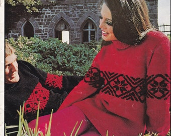 On Sale - Paton's Jet, Togetherness is Wearing look alike Sweaters, Knitting Pattern Book No 804 Vintage 1970s