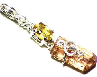 Orange Calcite Necklace, Imperial Topaz Crystal Pendant (2.9 tctw) Faceted Calcite in Sterling Silver, Mexican Calcite Pendant, Summer Color