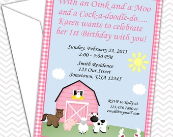 Barn Yard Farm Animals Pink Gingham Invitations PRINTABLE - Birthday Party - Baby Shower