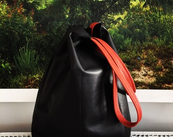 Large Black Leather Tote Bag - oversized black leather bag - large leather bag - supple black leather tote- Sale