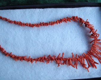 Red Branch Coral necklace with silver findings / clasp