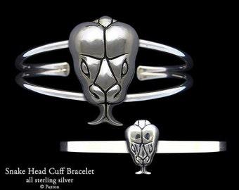 Snake Head Bracelet Sterling Silver Sanke Cuff Bracelet Handmade