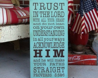 Wooden Sign Trust in the Lord Proverb 3:5-6 Typography Word Art  Sign