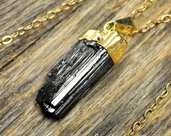 Tourmaline Necklace, Tourmaline Pendant, Tourmaline Gold Necklace, Raw Tourmaline, Black Tourmaline, Tourmaline Crystal, 14k Gold Fill Chain