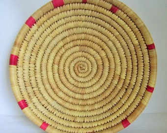 Vintage Hand Woven Coil Tray, African Wicker Coil Wall  Basket, Rattan Woven Bowl