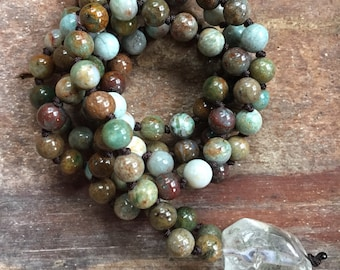 Green Australian Jade + Garden Quartz Crystal (Rutile) Mini Mala | 6 mm | Spiritual Junkies | 108 Bead Handknotted | Yoga + Meditation
