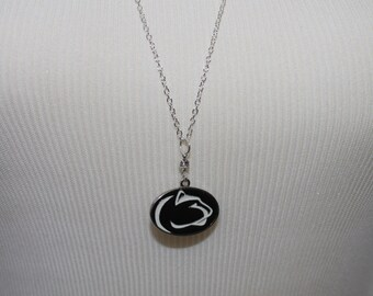 Penn State Charm Necklace with Swarovski Stone/ Sterling Silver Chain- choose necklace length
