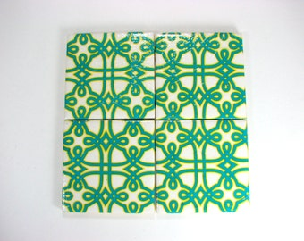 Byzantine mosaics on tile coasters,  in teal and yellow, decoupage