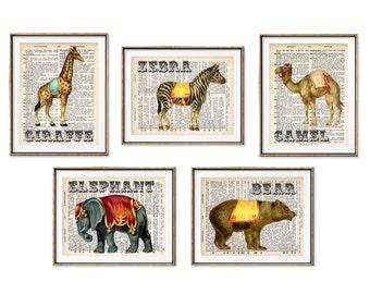 Circus Animals Art, Circus Nursery, Dictionary Art, Giraffe art, Book Art Print, Circus Elephant, Carnival Art, Vintage carnival, Set of 5