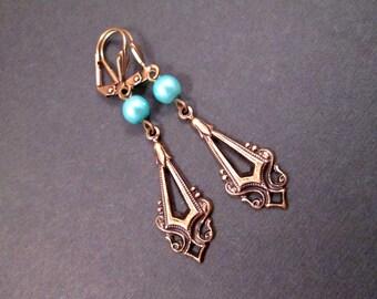 Pearl Earrings, Aqua Blue Glass Pearls and Drop Pendants, Brass Dangle Earrings, FREE Shipping U.S.