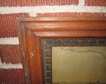 Antique Beautiful Sold Oak Picture Frame with Revolutionary War Print