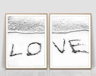 Love word on sand, set of 2 prints,ocean beach,Minimalist Art,  Modern Art Print, Printable Art, black and white,