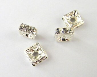 Squaredelles - 8 mm - Four (4) Crystal Silver