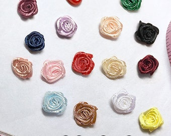 """Set of Two 3/8"""" or 10mm Small Satin Rose Embellishments in 15 Colors!"""