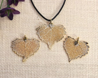 SALE Leaf Necklace, Gold Cottonwood Leaf, Real Cottonwood Leaf Necklace, Gold Leaf, Gold Leaf Pendant, SALE353