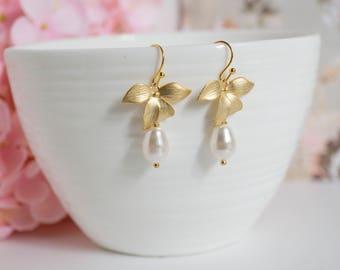 Gold Orchid Flower White Pearls Earrings. White Teardrop Swarovski Pearls Bridal Wedding Bridesmaid earrings. stocking fillers. FOR HER