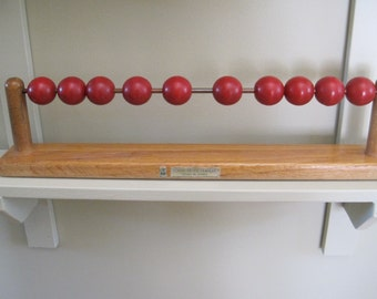 OLD SCHOOL Vintage Wooden Abacus Toy for counting at school red wooden counters School Supply Company Chicago, Illinois