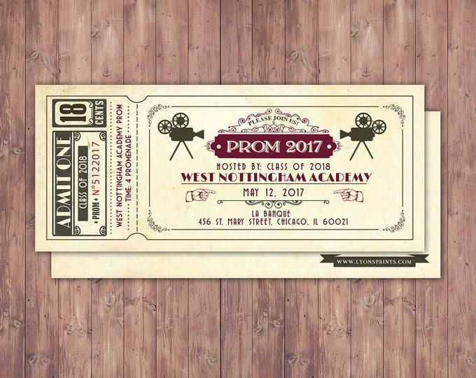 PROM, Art DecoVintage Retro Save the Date Ticket Announcement, wedding invitation, wedding shower, old Hollywood , Cinema,