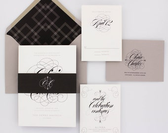 Wedding Invitations, Classic Wedding Invitations, Urban Chic, Black and White, Glam, Plaid - Olivia Wedding Invitation Deposit