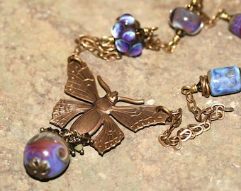 Vintage Brass Butterfly and Purple Lampwork Glass Focal Necklace, Handcrafted Rustic Style Art Glass Jewelry, Boho, Woodland, SRAJD