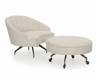 Unusual Vintage Tufted White Linen Roundback Arm Chair Chaise Lounge with Ottoman