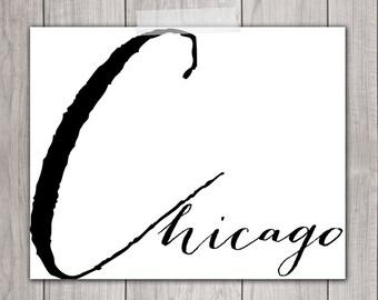 Chicago Art - 8x10 Art Print, I Heart Chicago, Printable Home Decor, Printable Art, Chicago Wall Art, Chicago Wall Decor