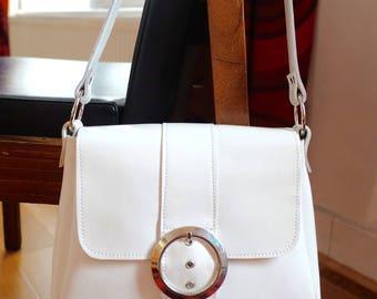 RESERVED do not buy - 60s vintage style patent white leather handbag handmade
