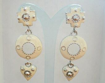 Vintage Pierced Earrings Ivory Enamel Long Silver Tone Metal Off White Dangly Heart