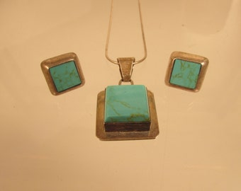 Turquoise Earrings and Necklace Set  Sterling  @A Village Coin Bullion 4/1/17 B