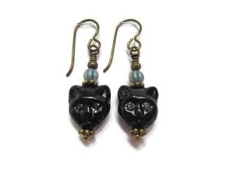 Black Cat Lover Earrings Czech Cat Beads on Niobium Ear Wires (1645)