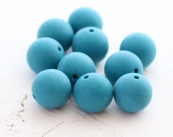 Vintage Lucite 13mm Round Beads - Matte Teal - 10 Beads