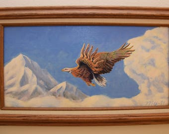 Painting of Eagle in Flight, Mountains & Clouds in Background, Acrylic on Canvas