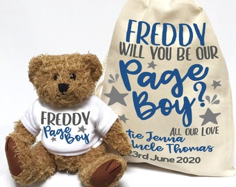 Will you be or page boy, personalised teddy bear wedding favour. Cute bear with matching cotton bag. Navy and stars.