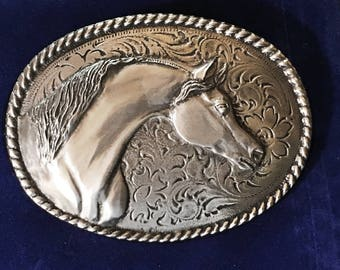 Western Belt Buckle, Arabian Horse, 3.5 X 2.75 inch miror polished pewter buckle