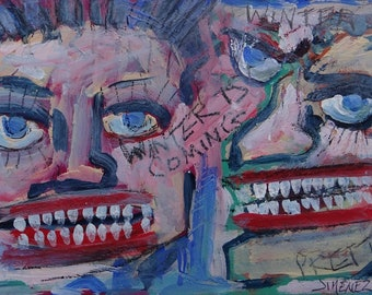 """Outsider art Painting, Art Brut, """"Winter is coming!"""" Raw Art - Neo-expressionism art"""