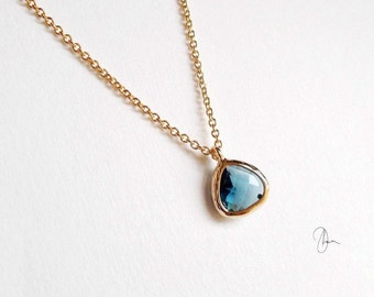 Tiny Blue Crystal Gold Necklace - Dainty Thin Minimal Jewel Necklace - Simple Minimalist Everyday Jewellery - Gold-filled or Plated Necklace
