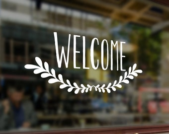 Welcome  Window and wall adhesive vinyl cling