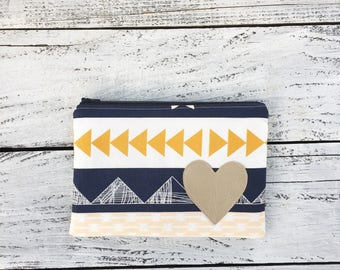 Tribal Printed Zip Pouch / Medium Clutch Bag / Cosmetic Pouch / Gift for Her / Makeup Bag