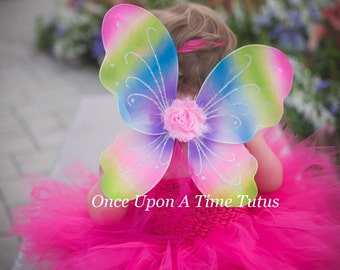 Rainbow Fairy Wings -- Dress Up or Birthday Party Favor Accessory - Little Girls Butterfly Costume - Fairy Halloween Costume - Ready To Ship