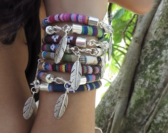Bohemian Feather Bracelet, Native American Jewelry, Peruvian Bracelet, Woven Ethnic Jewelry,Boho Jewelry, Festival Hippie Stacking Bracelets