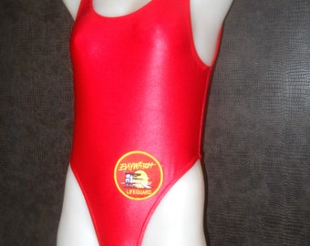 Baywatch style swimsuit with Baywatch logh In red wet look spandex