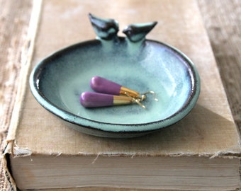 Love Bird Dish - Jewelry Holder - Shallow Bowl - Aqua Mist - French Country Home Decor - MADE TO ORDER