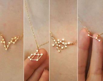 Zodiac Necklace,Zodiac sign necklace,Constellation necklace,Leo,Virgo, Libra, Scorpio,Capricorn,Pisces,Gemini,Taurus,Cancer,Aries necklace