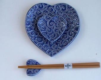 Handbuilt, Ceramic Sushi Set, Blue