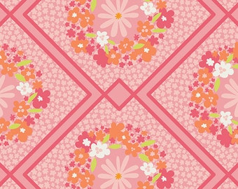 Pink Floral Fabric - Dreamin Vintage Cottage Treasures Art Gallery Fabric- Diamond Flower Fabric DV 50024 Hot Pink Fabric - Baby Girl Fabric