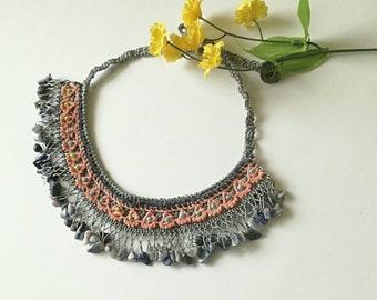 Beaded Necklace, Fiber Boho Necklace, Crochet Necklace, Fiber Art, Unique Gift Idea, Gift For Her