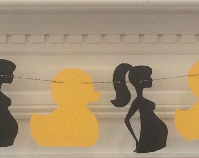 Party Garland: Duck & Mom-to-Be Silhouette - gender neutral baby shower die cut yellow black modern