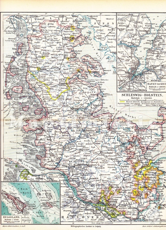 1897 SchleswigHolstein Prussia with section maps of