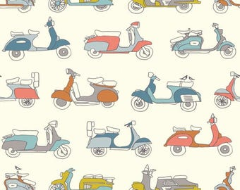 Mopeds Cream - Trans-Pacific by Jay-Cyn Designs from Birch Fabrics - Organic Fabric - Kids Organic Fabric - Birch Organic Fabrics - Cotton